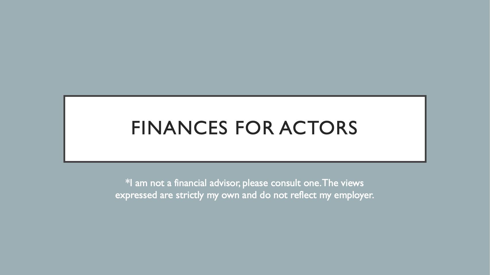 Finances for Actors – Part 1